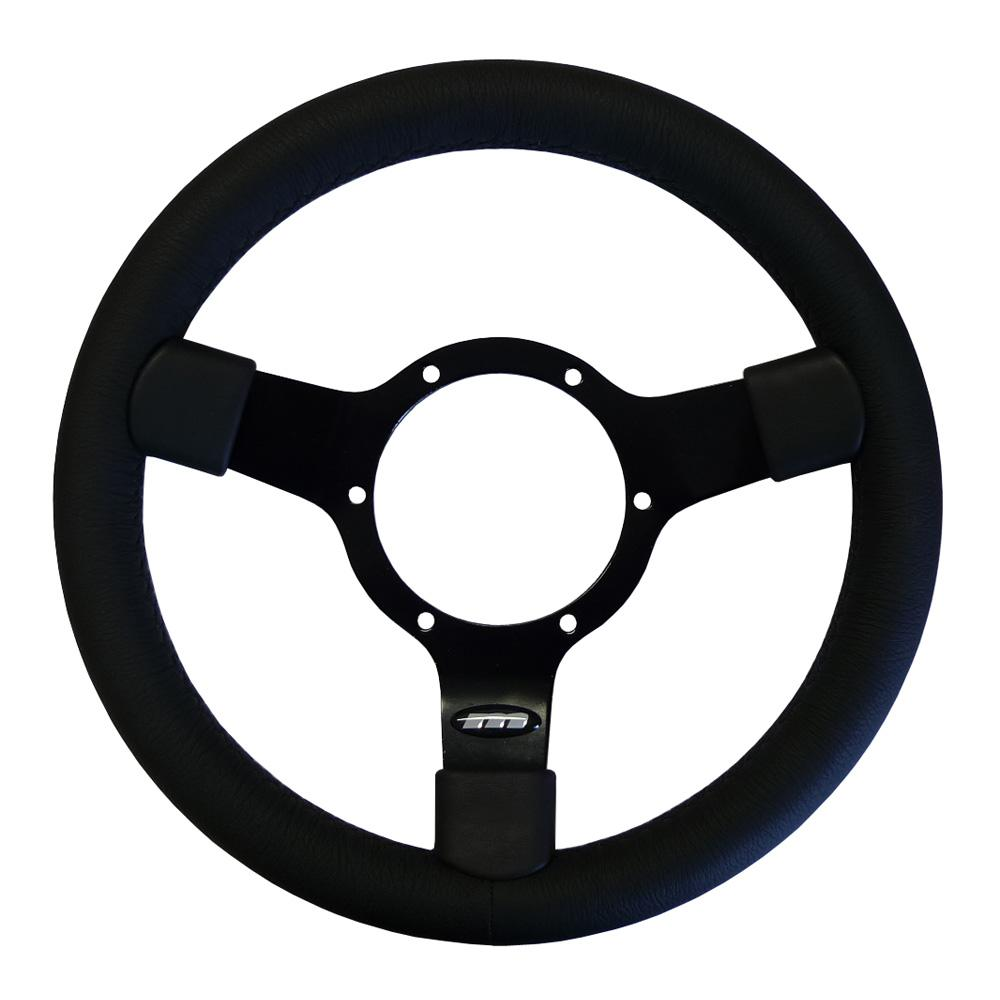 12 Inch Traditionele Steering Wheel Black Spokes Leather Rim