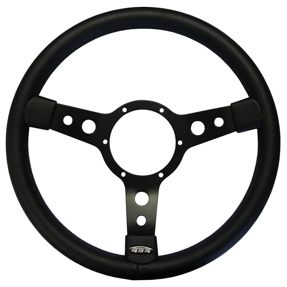13 Inch Traditionele Steering Wheel Black Spokes Vinyl Rim